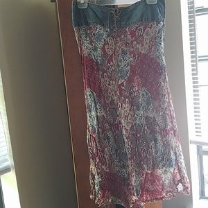 Paisley and denim chiffon skirt.